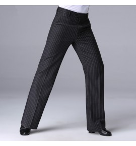 Men's striped latin ballroom dance pants stage performance competition latin chacha dance long trousers