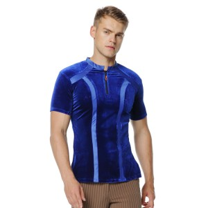 Men's velvet latin shirts competition stage performance professional ballroom rumba salsa chacha rumba dancing tops