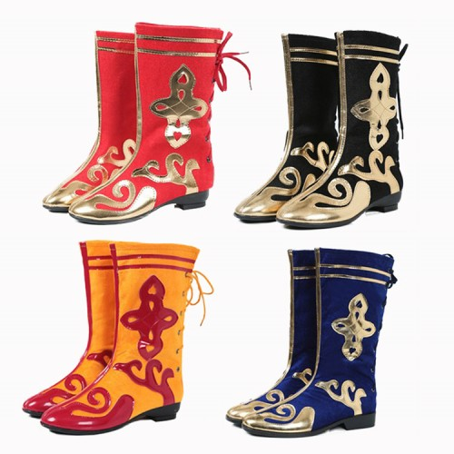 Men's women's Mongolian dance Chinese folk dance boots lion dragon dance yangko stage performance drama cosplay shoes
