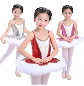 Modern dance ballet dress for girls kids children silver red  white tutu skirt swan lake competition stage performance cosplay dancing dresses