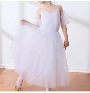 Modern dance ballet dress white color long length stage performance competition ballet dress