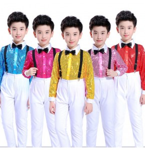 Modern dance costumes for boys children jazz chorus stage performance singers school competition tops and suspender pants