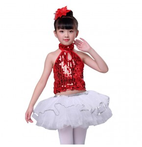 Modern dance costumes for girls  childen kids blue red silver black pailleltte singers host chorus school competition dresses costumes outfits