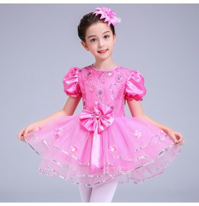 Modern dance princess dresses for girls children pink white princess fairy party cosplay chorus stage performance jazz ballet party cosplay costumes