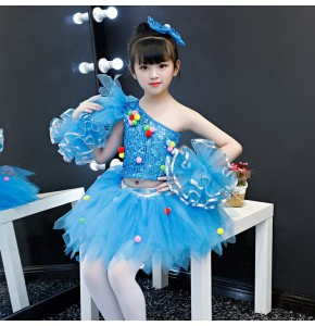 Modern dance princess dresses girls children kids  princess chorus singers costumes turquoise paillette show cosplay costumes