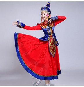 Mongolian dance dress for women female ethnic national grassland performance  drama cosplay photos dance robes costumes