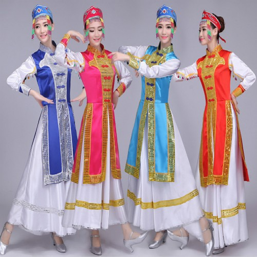 Mongolian dresses for Women's Chinese folk dance dresses adult Asian party china ancient traditional  dance cheap dicount dresses