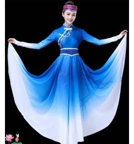 Mongolian dresses girls women's  stage performance National Mongolia drama show cosplay performance robes dresses
