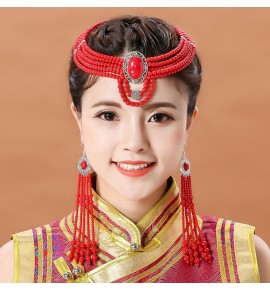 Mongolian ethnic dance performance headdress handmade beaded hair accessories bride Mongolian clothing accessories