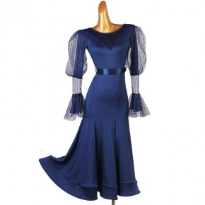 Navy colored ballroom dance dress for women girls Professional art examination ballroom dancing skirts standard  foxtort tango dance dresses with belt