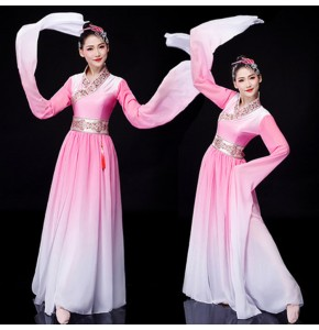pink colored Women' s chinese folk dance dresses water sleeves hanfu traditional yangko stage performance umbrella dresses
