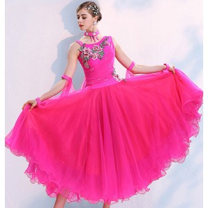 Pink royal blue yellow colored girls women ballroom dancing dresses embroidered pattern waltz tango dance dresses