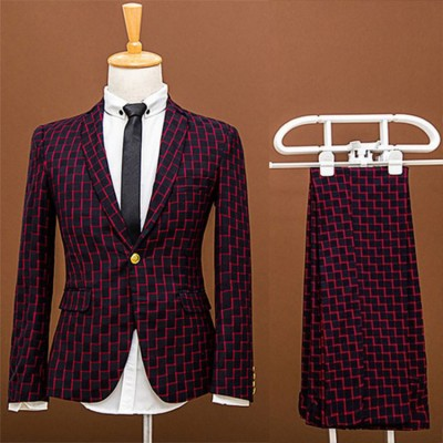 Plaid Jazz dance singer chorus performance suit groom married male slim formal dress male suit prom party blazer and trousers