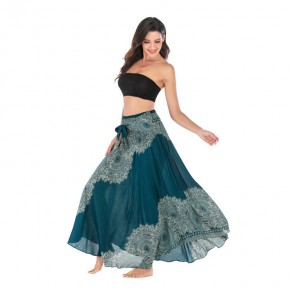 Printed beach belly dance skirts Thai dress half length skirt beach holiday skirt big swing skirt belly dance