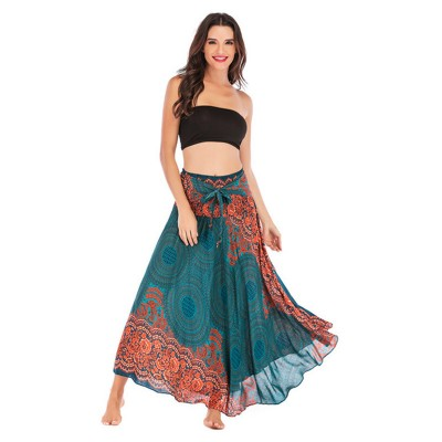 Printed belly dance skirts two ways wearing Leisure Thailand Beach holiday skirt Big skirt belly dance