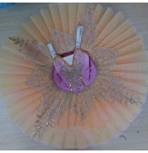 Purple competition ballet dresses tutu pancake platter skirt competition stage performance professional dancing costumes