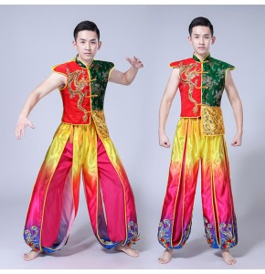 Rainbow color Chinese folk dance costumes for men dragon china style drummer stage performance competition yangko dancing tops and pants