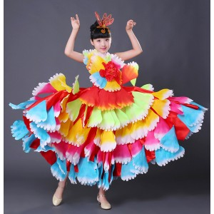 Rainbow colored flamenco dress for girls kids petals  flowers stage performance spanish folk bull dance dresses