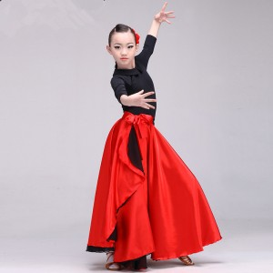 red colored flamenco skirts for kids children spanish bull dance wrap skirts hip scarf skirts