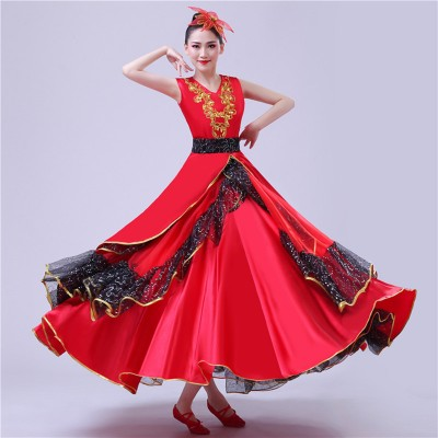 red Flamenco dress for women female ballroom paso double dance dresses spanish bull dance dresses stage performance costumes