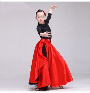 Red flamenco skirt for girls children Spanish bull dancing stage performance   lace up wrap waist skirts 540degree
