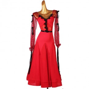 Red flowers ballroom dance Dresses for women girls ballroom dance costumes tango waltz dance dress for female