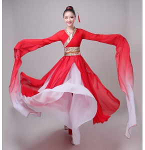 Red hanfu Women's chinese folk dance dresses stage  performance water sleeves classical fairy dance princess dresses