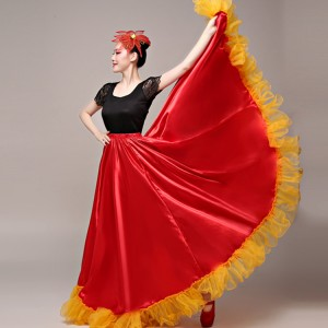 Red with gold flamenco skirts womeng girls stage performance spanish bull folk dance skirts swing skirts