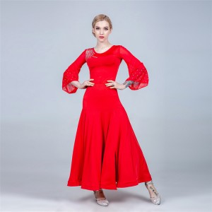 Red women girls ballroom dancing dresses tango waltz modern dance dresses