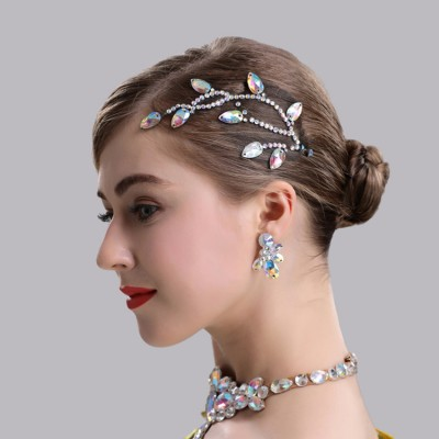 Rhinestones bling dance competition headdress for women girls waltz tango ballroom hair accessories headdress
