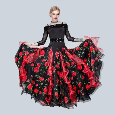 rose flowers Ballroom dancing dresses for women diamond long sleeves tango waltz dance long dress