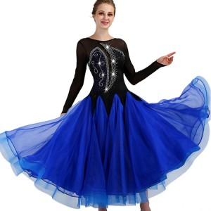 Royal blue ballroom dresses diamond long length long sleeves competition waltz tango rumba dancing dresses