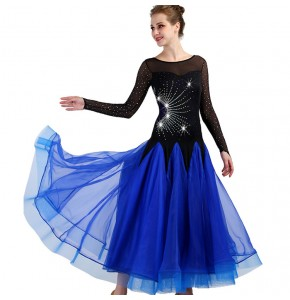 Royal blue ballroom dresses diamond long sleeves competition professional stage performance waltz tango chacha dancing costumes