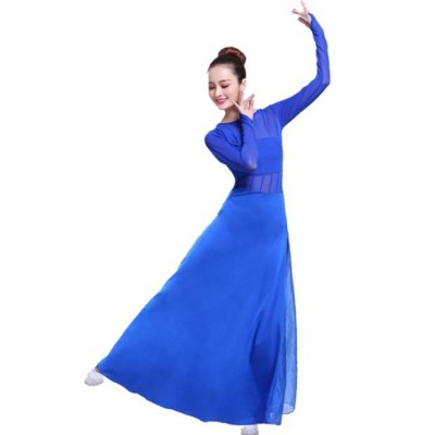 Royal blue modern dance women's female ballet dress stage performance modern dance dresses