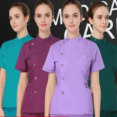 Summer women hospital medical scrub clothes set fashionable design slim fit dental scrubs beauty salon men nurse uniform