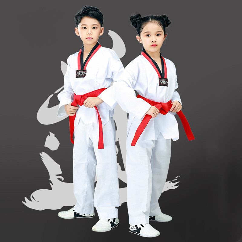Taekwondo suit children adult long sleeve short sleeve cotton men's and women's custom striped Taekwondo suit