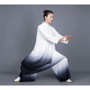 Tai chi clothing chinese kung fu uniforms Tai Chi Clothingquan women's new elegant gradient color mid long competition performance costume Tai Chi Clothingquan training suit spring and Autumn
