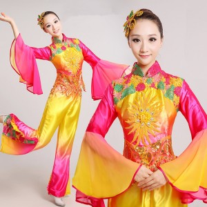 Traditional Chinese Clothing Women Ancient Yangko folk dance Fan rainbow Costume Costumes woman yangge dancing dances clothes