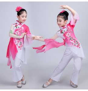 Traditional chinese folk dance costumes for girls opera dance studio oriental yangko fan dance dresses for children Ancient Fairy cosplay Dress