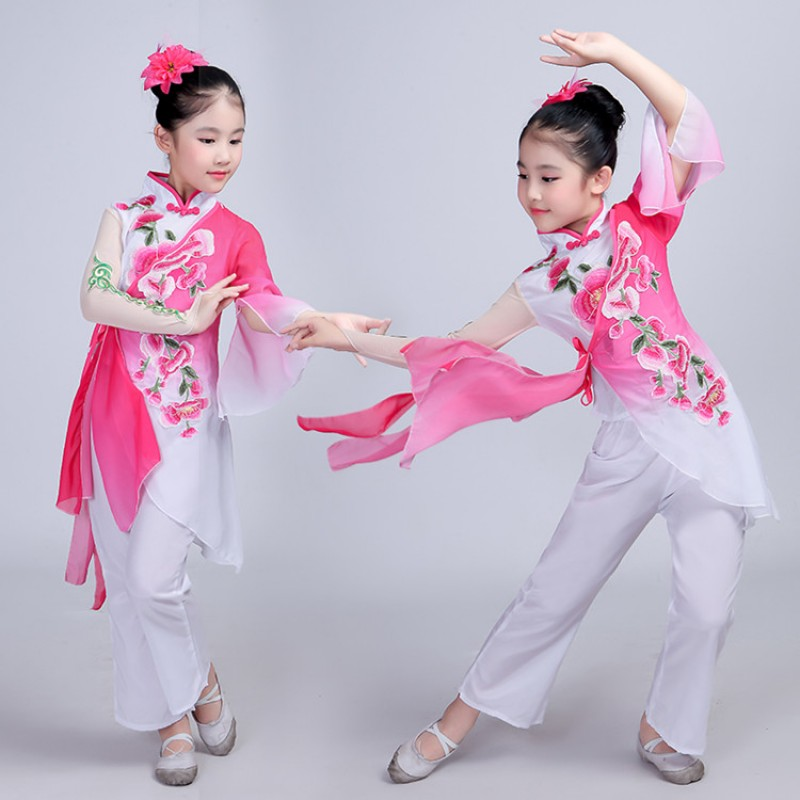 0b6a4c2eae6 Traditional chinese folk dance costumes for girls opera dance studio  oriental yangko fan dance dresses for