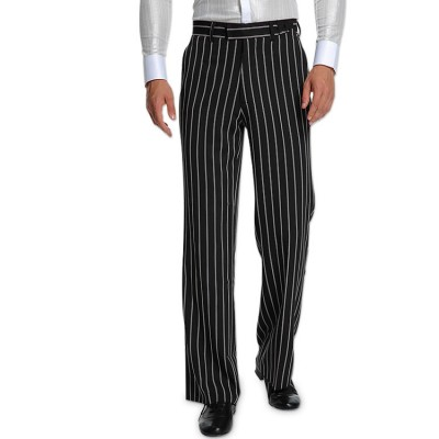 White and black striped latin dance pants for women female competition stage performance ballroom dancing long trousers