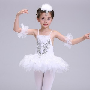 White ballet dress for girls swan lake competition stage performance dance studio tutu dance dresses