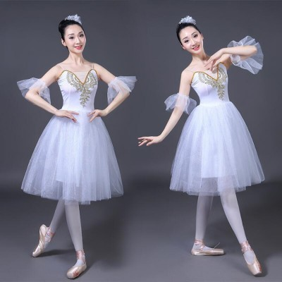 White ballet dress for women female stage performance competition party celebration film cosplay tutu modern dance dresses