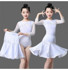 White colored girls latin dance dresses stage performance modern ballroom salsa rumb chacha dance leotard tops and skirts