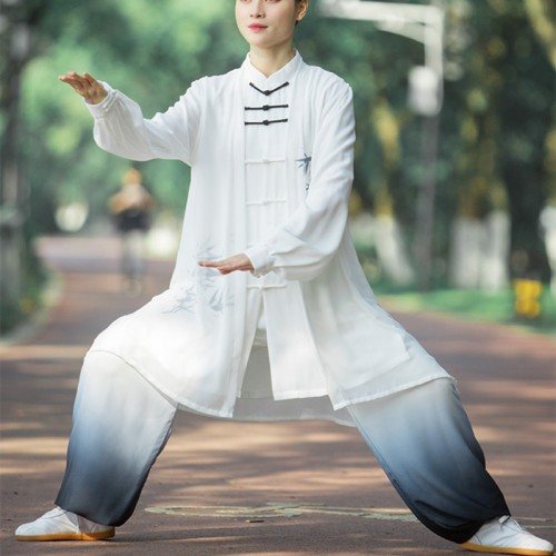 White with black gradient chinese Tai chi clothing kungfu uniforms for women and men 3 pieces in one set wushu martial art performance suits