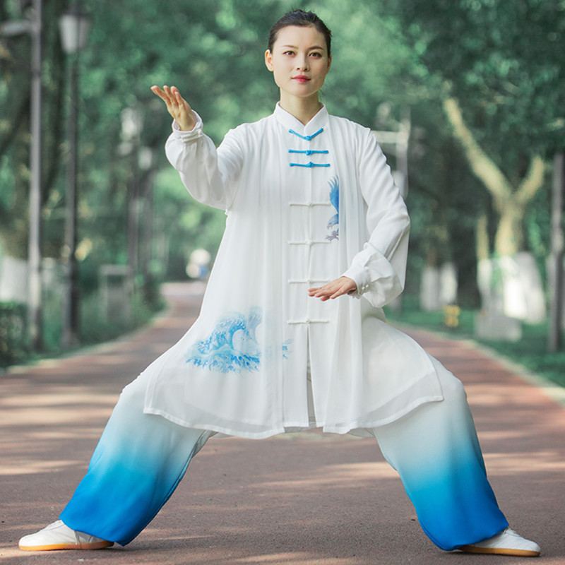 White with blue gradient chinese tai chi clothing for women and men kung fu unforms wushu martial art stage performance suits morning exercises fitness clothes