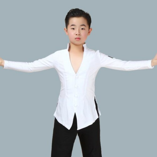 Wholesale boy latin dance shirts children black white stage performance modern ballroom dancing tops