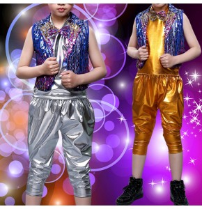 Wholesale boy modern jazz hiphop street dance costumes children gogo dancers school stage performance drummer dance outfits