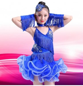 wholesale children competition latin dance dresses for school girls stage show performance latin dance skirts costumes
