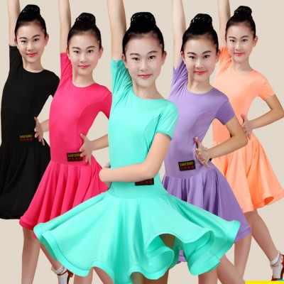 wholesale discount Girls competition ballroom latin dance dresses rumba chacha dance costumes skirts dress